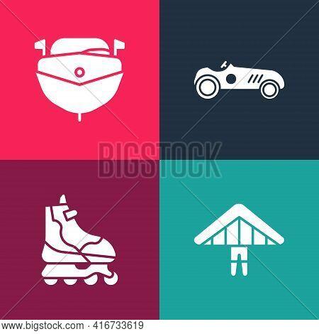 Set Pop Art Hang Glider, Roller Skate, Vintage Sport Racing Car And Speedboat Icon. Vector