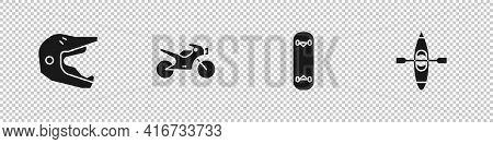 Set Motocross Motorcycle Helmet, Motorcycle, Skateboard Trick And Kayak Canoe Icon. Vector