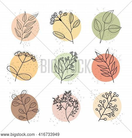 Set Of Flowers, Abstract Shapes. Line Art. Round Elements. Line Art. Contemporary Hand Drawn Vector