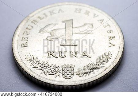 Currency Croatian Metal Coin Macro Photo Of One Kuna. Selective Focus.