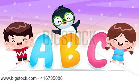 Illustration Vector Graphic Of Cartoon Happy Boy Girl And Penguin With Alphabet. Perfect For Mascot,