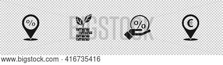 Set Location With Percent Discount, Dollar Plant, Discount Tag And Cash Location Icon. Vector