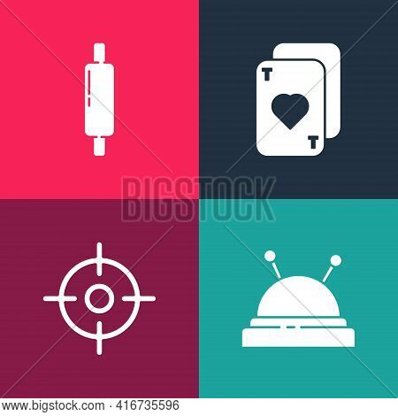 Set Pop Art Needle Bed And Needles, Target Sport, Playing Cards And Rolling Pin Icon. Vector