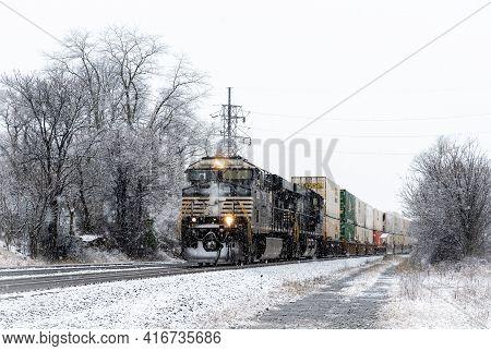 Train In Snowstorm