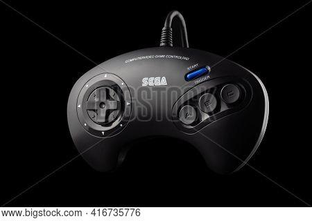Varna, Bulgaria, 30 Mart 2021:- Sega Mega Drive 16-bit Gaming Console's Controller Isolated On A  Bl