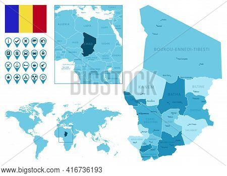 Chad Detailed Administrative Blue Map With Country Flag And Location On The World Map. Vector Illust