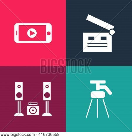 Set Pop Art Tripod, Home Stereo With Two Speakers, Movie Clapper And Online Play Video Icon. Vector