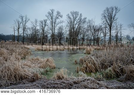 A Rural Scenic Landscape In The Hoarfrost Of The Early Morning In The Winter Season.
