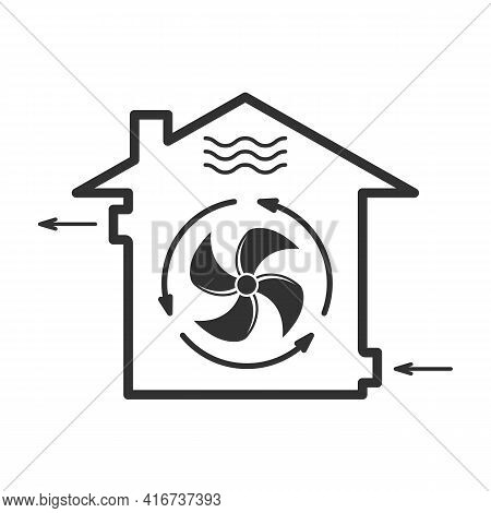 House Forced Ventilation System Icon, Mechanical Fanning Of Building, Airing Sign, Vector