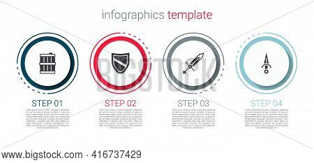 Set Wooden Barrel, Shield, Medieval Sword And Dagger. Business Infographic Template. Vector