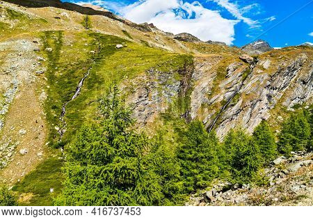 Stellisee Brook At The Pennine Alps In Switzerland