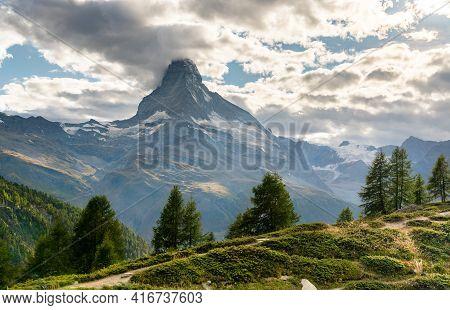The Matterhorn Mountain From A Panoramic Trail Near Zermatt In Switzerland
