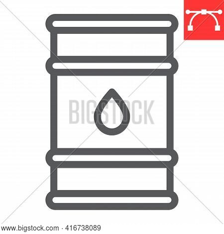 Oil Barrel Line Icon, Industry And Fuel, Oil Drum Container Vector Icon, Vector Graphics, Editable S