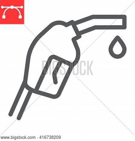 Gasoline Pump Nozzle Line Icon, Diesel And Gas Station, Fuel Pump Nozzle Vector Icon, Vector Graphic