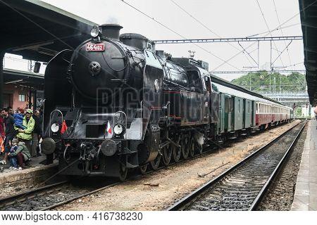 Kurim, Czechia - May 10, 2014: Steam Locomotive Pulling A Heritage Train, A Former Czechoslovak Rail