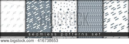 Set Of Combinable Seamless Patterns. Botanical Floral Hand Drawn Lineart Elements Dots Spots, Ultima