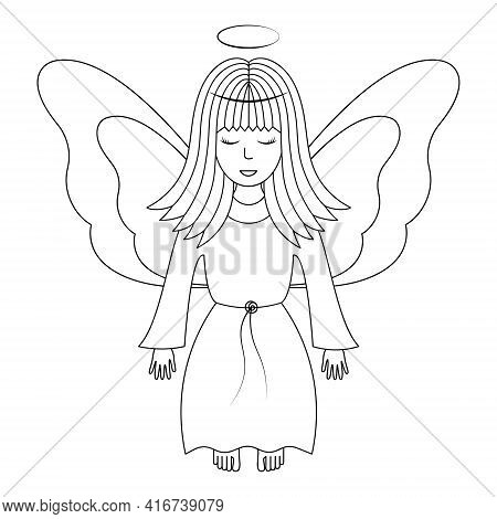 Angel With Wings. Sketch. Vector Illustration. A Girl With A Halo Over Her Head. The Fairy Lady Clos