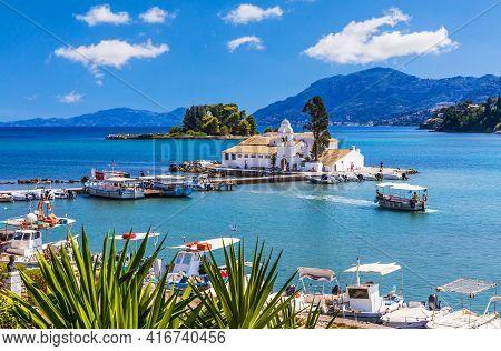 Corfu, Greece. Vista Of Picturesque Vlacherna Monastery.