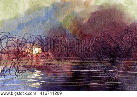 Abstract Impressionism. Landscape. Modern Painting.  Hand-drawn Illustration.