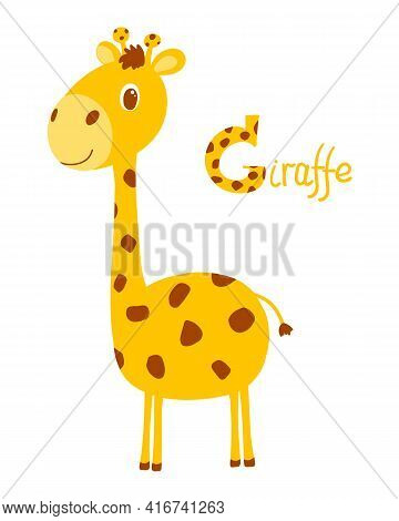 Little Cute Giraffe In Cartoon Style With Letter G And Giraffe Sign. Good For Education. Vector Isol