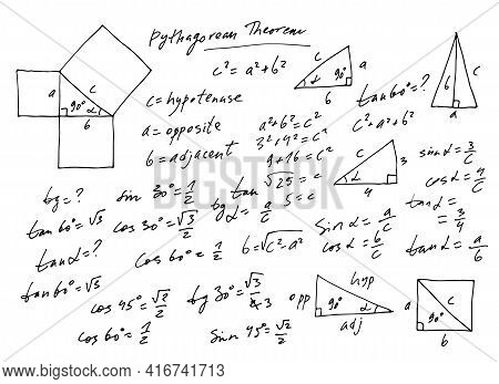 Handwritten Trigonometric Vector Set, Hand Drawn Monochrome Math Formulas Isolated On White Backgrou