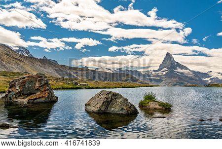 Matterhorn With Reflection In Stellisee Lake, Switzerland