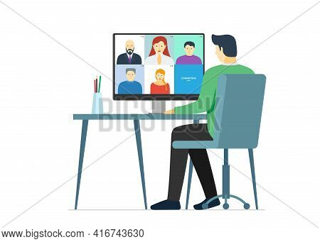 Man Using Computer With People Group On Screen Taking Part Online Conference. Home Work Meeting And