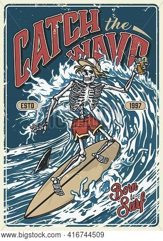 Ocean Surfing Vintage Colorful Poster With Skeleton In Baseball Cap And Shorts Holding Glass Of Cock