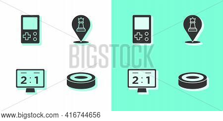 Set Checker Game Chips, Tetris, Sport Mechanical Scoreboard And Chess Icon. Vector