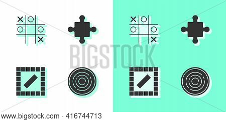 Set Checker Game Chips, Tic Tac Toe, Board And Puzzle Pieces Toy Icon. Vector