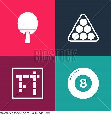 Set Pop Art Billiard Pool Snooker Ball, Bingo, Balls Triangle And Racket Icon. Vector