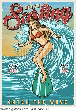 Ocean Surfing Vintage Colorful Poster With Pretty Girl In Red Bikini Swimsuit Riding Wave Vector Ill