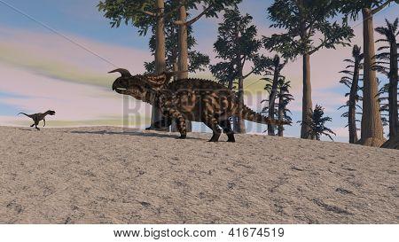 poster of einiosaurus in jungle