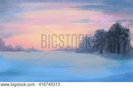 Winter Color Hand-drawn Bright Multicolor Winter Landscape. The Sky, Trees And Snow Against The Back