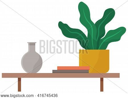 Shelving For Books And Potted Plant. Hanging Shelf With Interior Elements And Decorations For Room