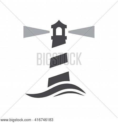 Lighthouse With Sea Wave Black Vector Icon. Light House Beacon Symbol.