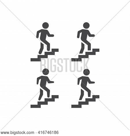 Stairs Or Stairway Black Vector Sign. Man Climbing Up Staircase Symbol.