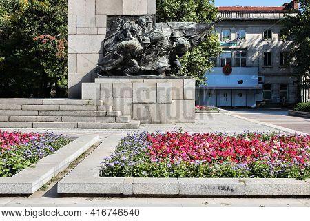 Vidin, Bulgaria - August 16, 2012: Monument To Fallen Soldiers In Vidin City, Bulgaria. It Commemora