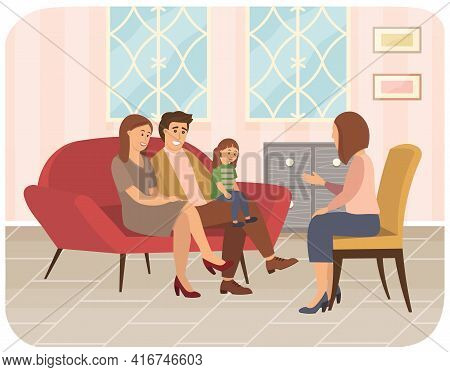 Conversation Between Parents, Child And Female Psychologist Or Psychotherapist. Family Psychotherapy