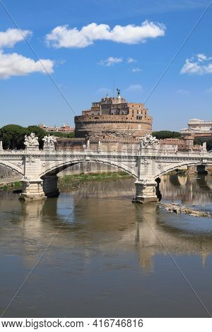 Rome City, Italy. Ponte Sant Angelo (saint Angel Bridge) And Castel Sant Angelo. Tourist Attractions