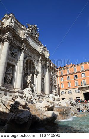 Rome, Italy - April 10, 2012: People Visit Trevi Fountain In Rome. According To Official Data Rome W