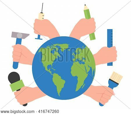World Labour Day 1st May. International Labor Day Hand With Work Tools. Worker Day Different Profess