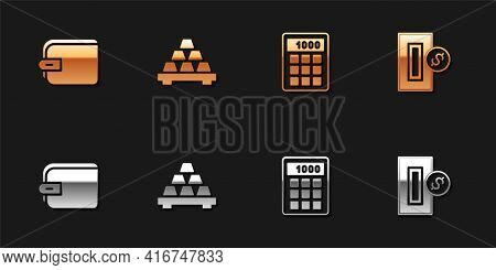 Set Wallet, Gold Bars, Calculator And Inserting Coin Icon. Vector