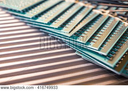Close-up Side View Of A Panel Of Smd Resistors Is Located On The Production Of Automatic Heating Sys