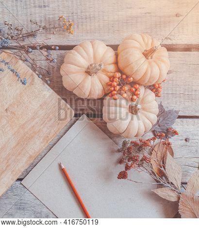 Autumn Background, Fallen Leaves, Fruits, Vegetables On Rustic Wooden Table. Seasonal Set, Aged Vint