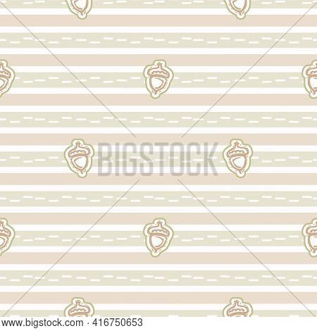 Seamless Minimalist Acorn Blockprint Pattern Background. Calm Pale Tonal Pastel Color Wallpaper. Sim