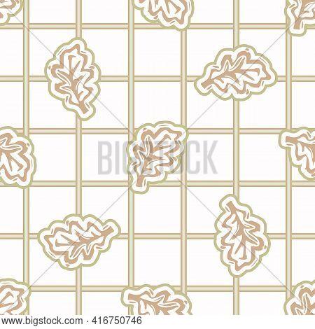 Seamless Minimalist Oak Leaf Blockprint Pattern Background. Calm Pale Tonal Pastel Color Wallpaper.