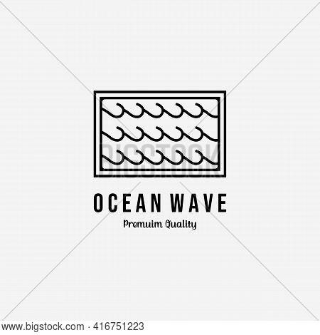 Minimal Line Art Emblem Of Ocean Waves Logo Icon Vector Illustration Design
