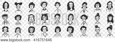 Hairstyles Of Brunette Women And Men Doodle Set. Collection Of Hand Drawn Female And Male Faces With