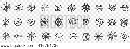 Steering Wheel Assortment Doodle Set. Collection Of Hand Drawn Various Styles Of Circle Steerings Wh